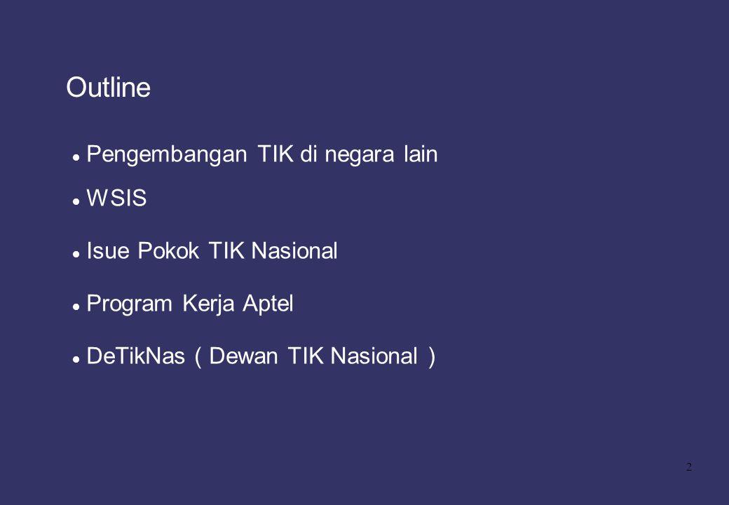 Outline Pengembangan TIK di negara lain WSIS Isue Pokok TIK Nasional