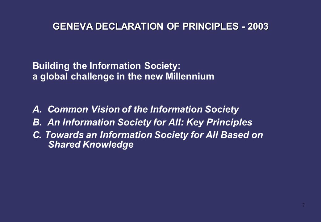 GENEVA DECLARATION OF PRINCIPLES - 2003