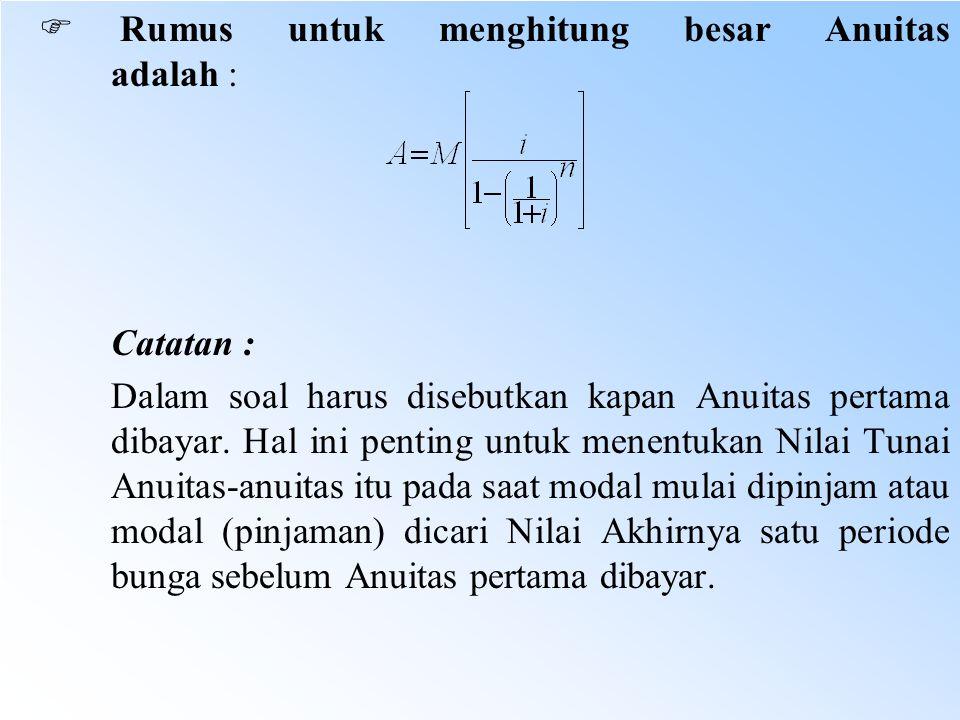 F Rumus untuk menghitung besar Anuitas adalah :