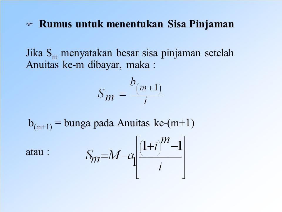b(m+1) = bunga pada Anuitas ke-(m+1) atau :