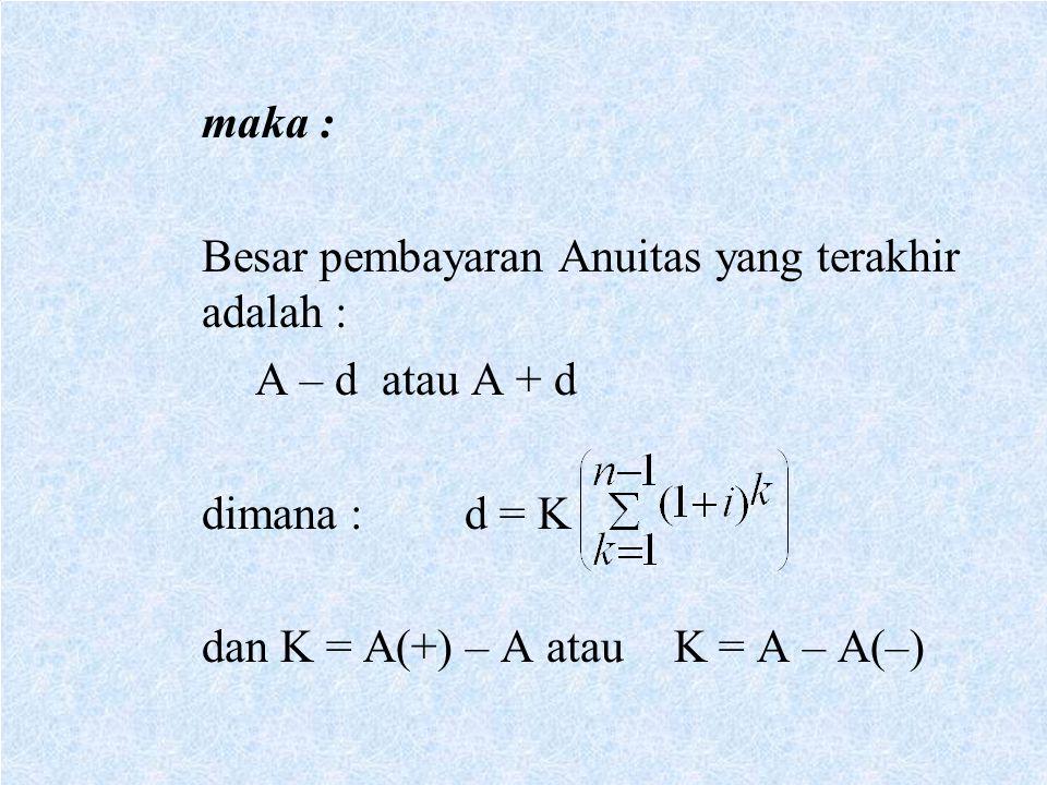 maka : Besar pembayaran Anuitas yang terakhir adalah : A – d atau A + d.
