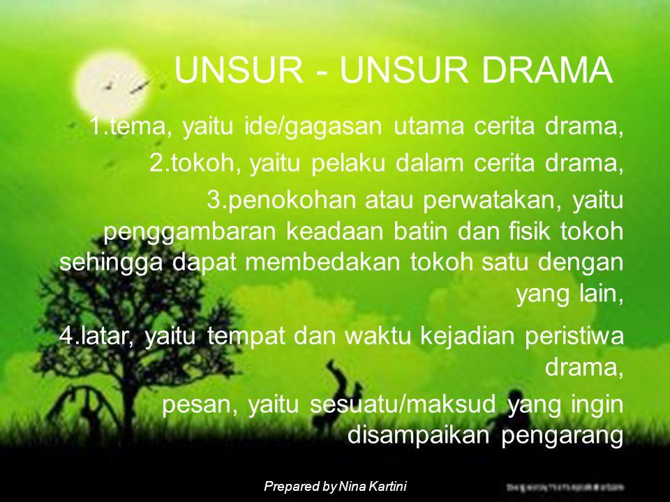 UNSUR - UNSUR DRAMA tema, yaitu ide/gagasan utama cerita drama,