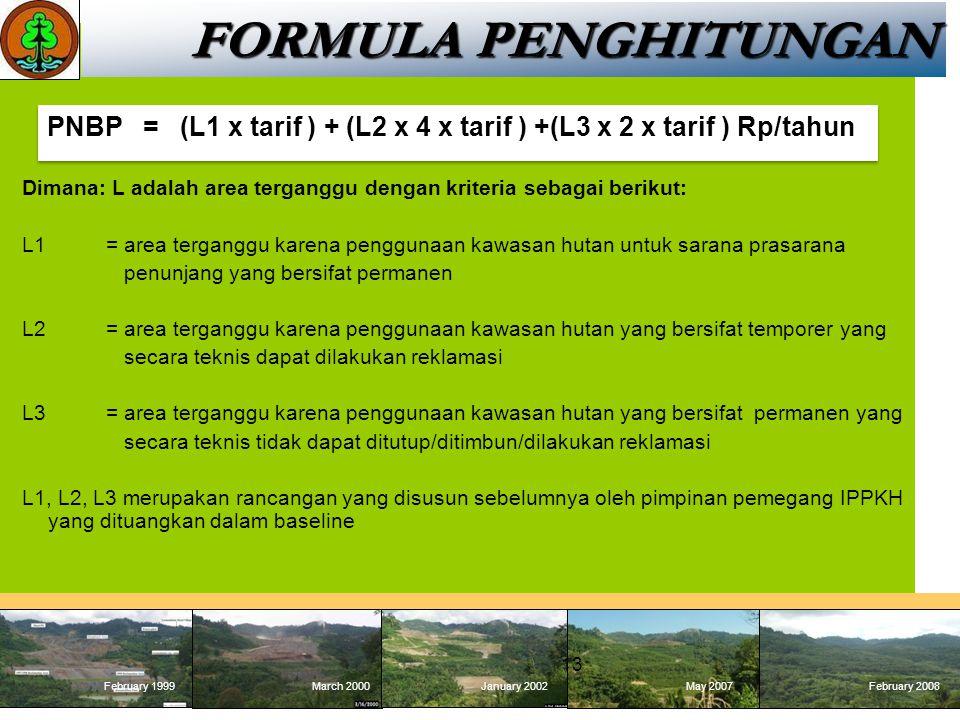 FORMULA PENGHITUNGAN PNBP = (L1 x tarif ) + (L2 x 4 x tarif ) +(L3 x 2 x tarif ) Rp/tahun.