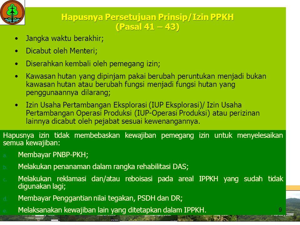 Hapusnya Persetujuan Prinsip/Izin PPKH