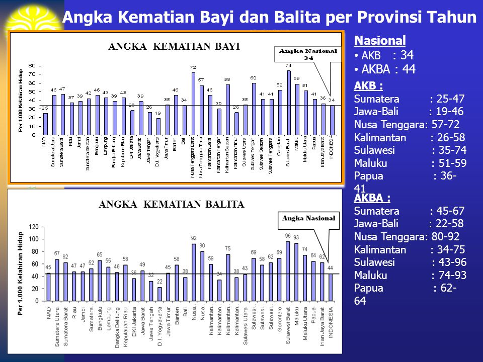 Angka Kematian Bayi dan Balita per Provinsi Tahun 2007