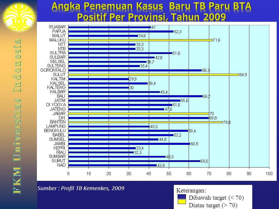 Angka Penemuan Kasus Baru TB Paru BTA Positif Per Provinsi, Tahun 2009