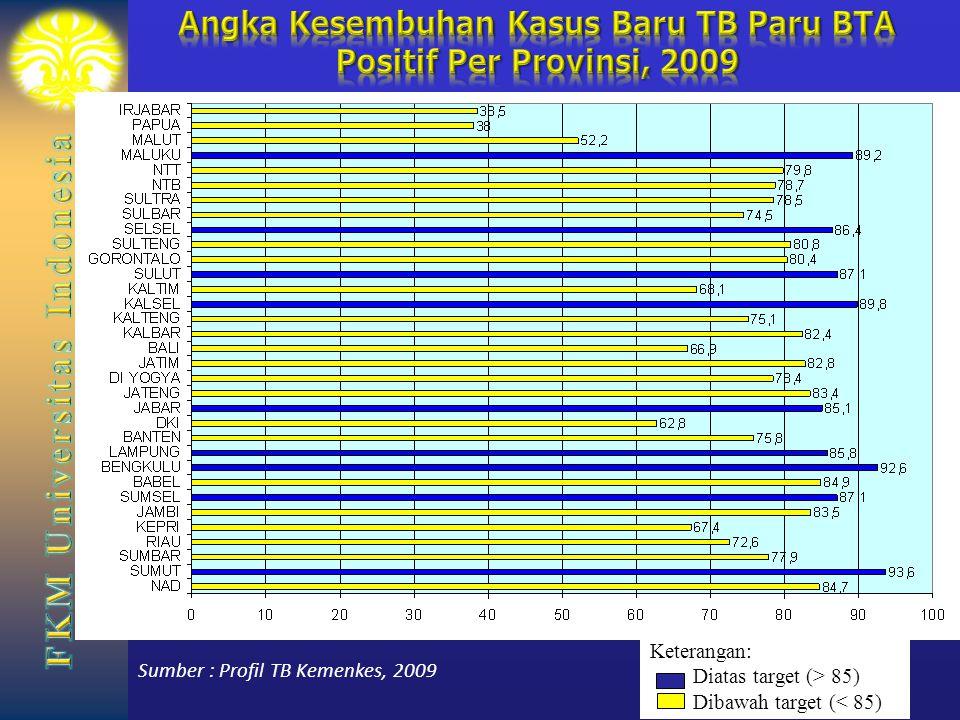 Angka Kesembuhan Kasus Baru TB Paru BTA Positif Per Provinsi, 2009