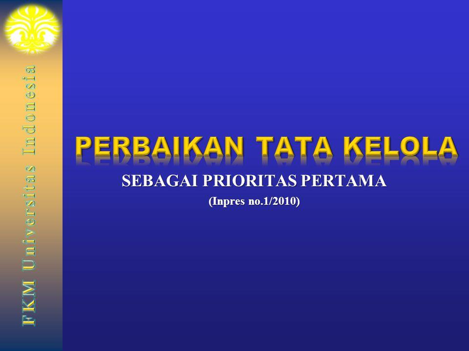 SEBAGAI PRIORITAS PERTAMA (Inpres no.1/2010)