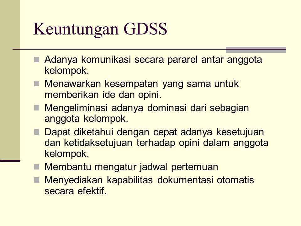 Keuntungan GDSS Adanya komunikasi secara pararel antar anggota kelompok. Menawarkan kesempatan yang sama untuk memberikan ide dan opini.