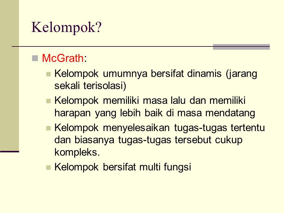 Kelompok McGrath: Kelompok umumnya bersifat dinamis (jarang sekali terisolasi)