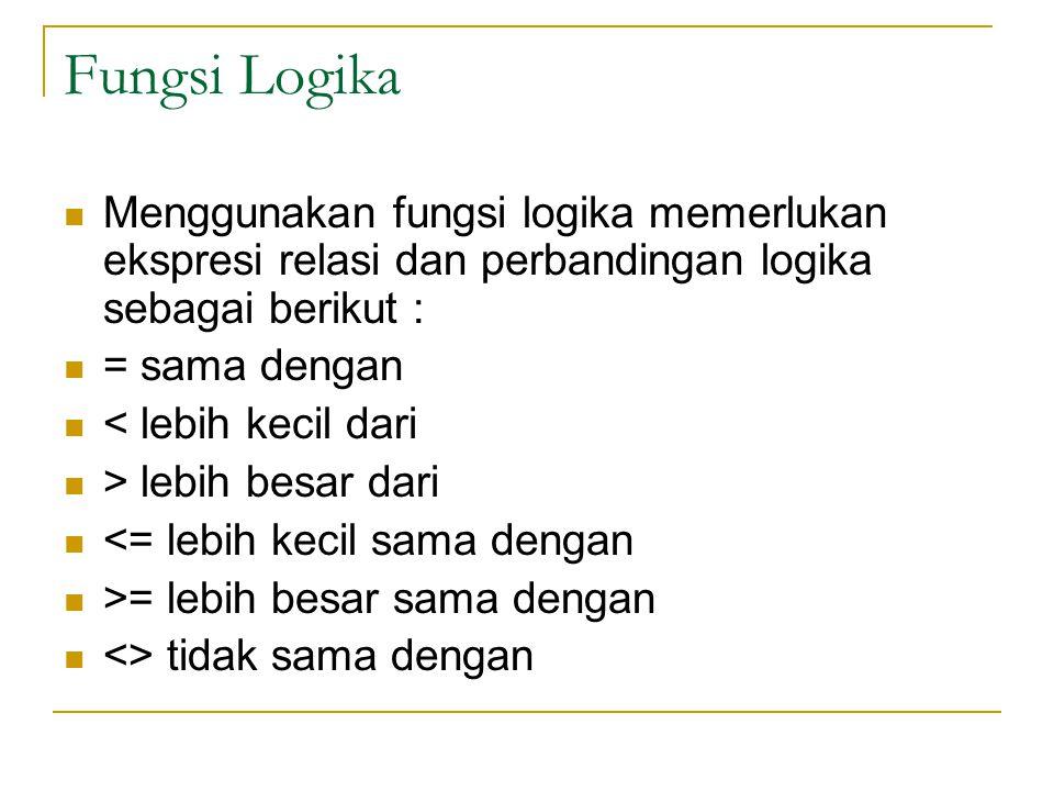 Fungsi Logika Menggunakan fungsi logika memerlukan ekspresi relasi dan perbandingan logika sebagai berikut :