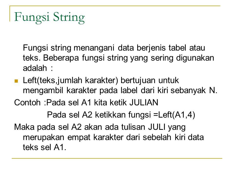 Fungsi String Fungsi string menangani data berjenis tabel atau teks. Beberapa fungsi string yang sering digunakan adalah :