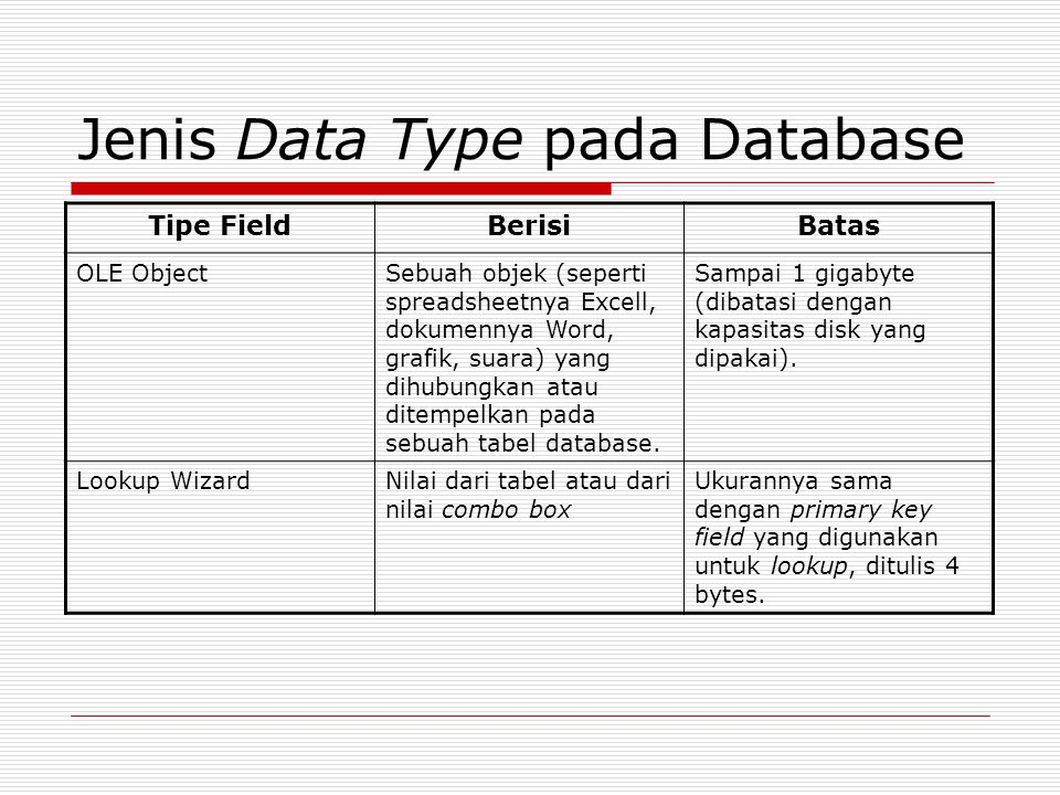 Jenis Data Type pada Database