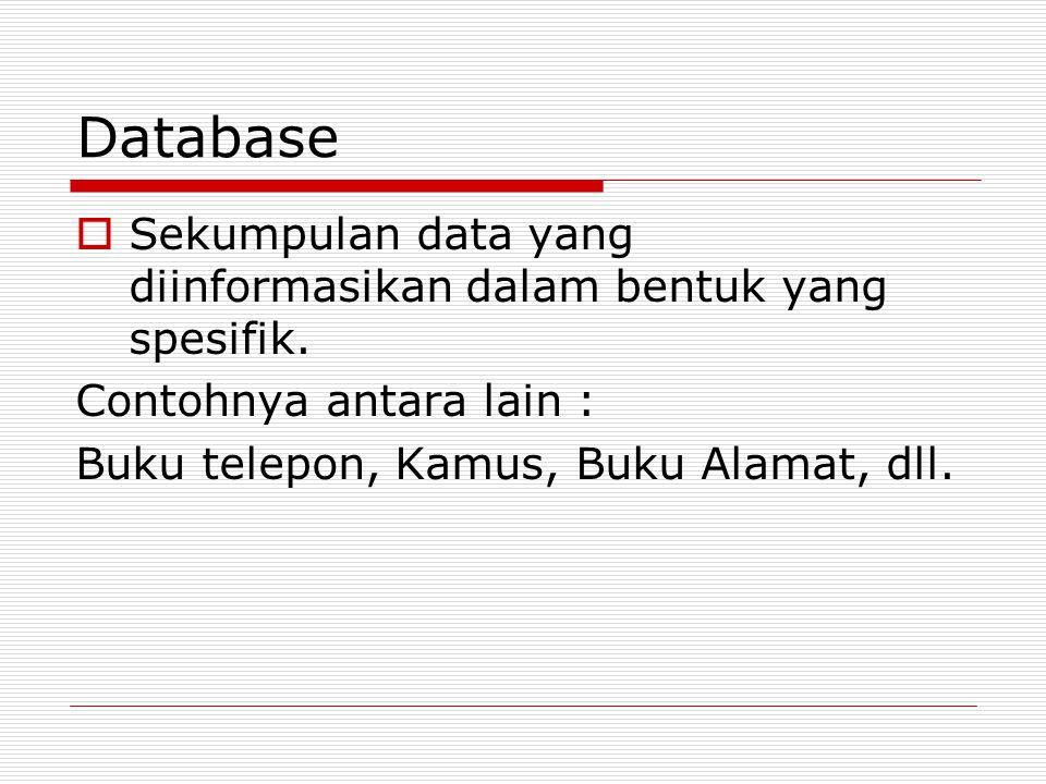Database Sekumpulan data yang diinformasikan dalam bentuk yang spesifik.