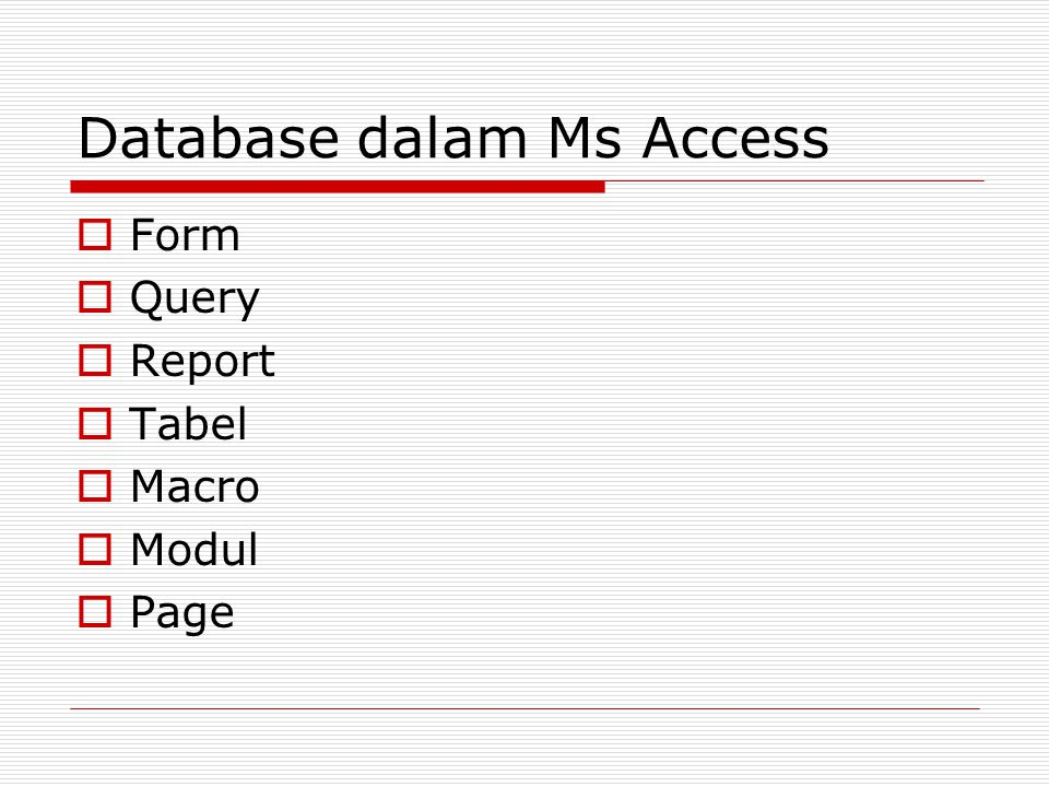 Database dalam Ms Access