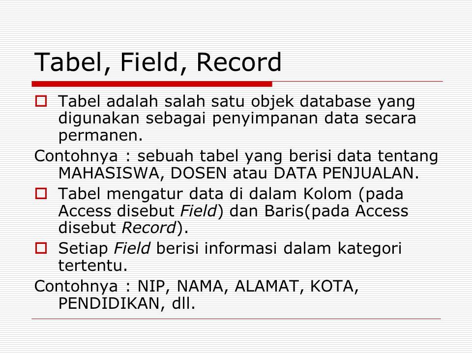 Tabel, Field, Record Tabel adalah salah satu objek database yang digunakan sebagai penyimpanan data secara permanen.