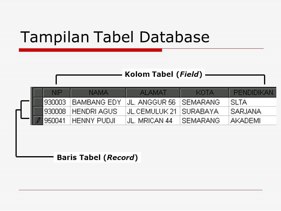 Tampilan Tabel Database