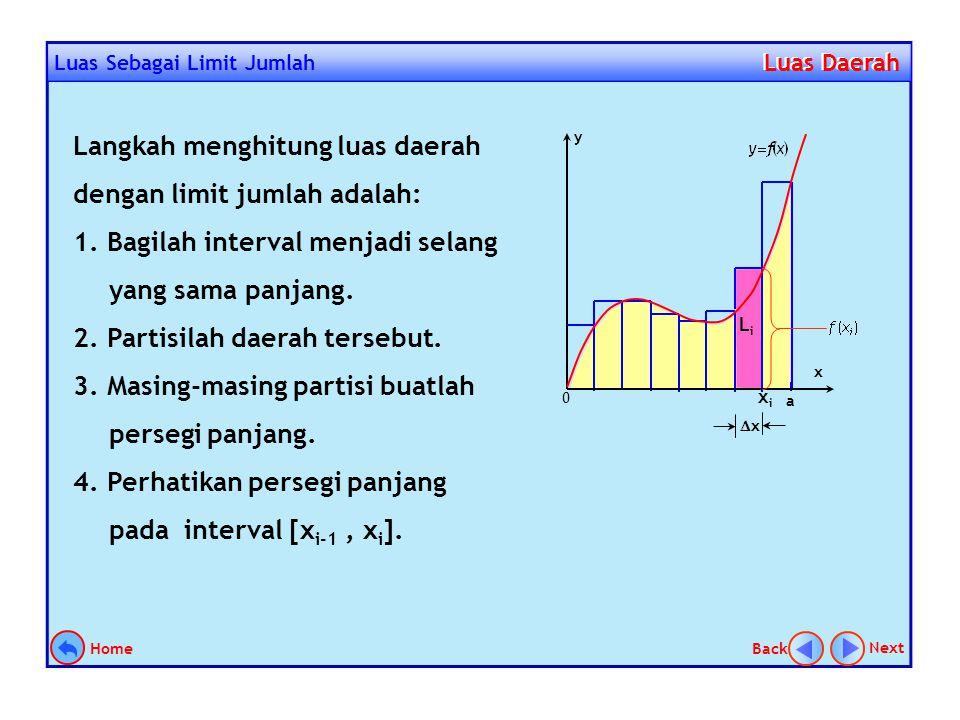 Langkah menghitung luas daerah dengan limit jumlah adalah: