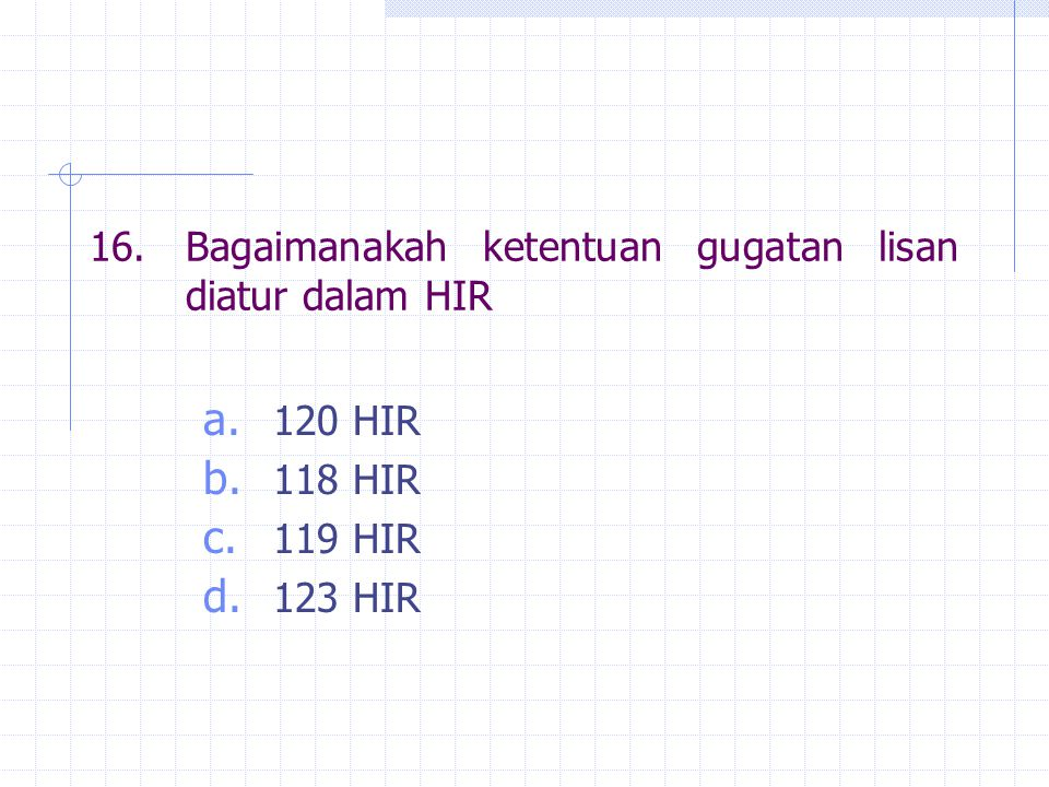 16. Bagaimanakah ketentuan gugatan lisan diatur dalam HIR