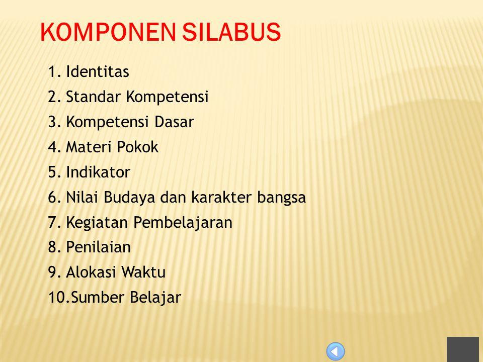 KOMPONEN SILABUS Identitas Standar Kompetensi Kompetensi Dasar