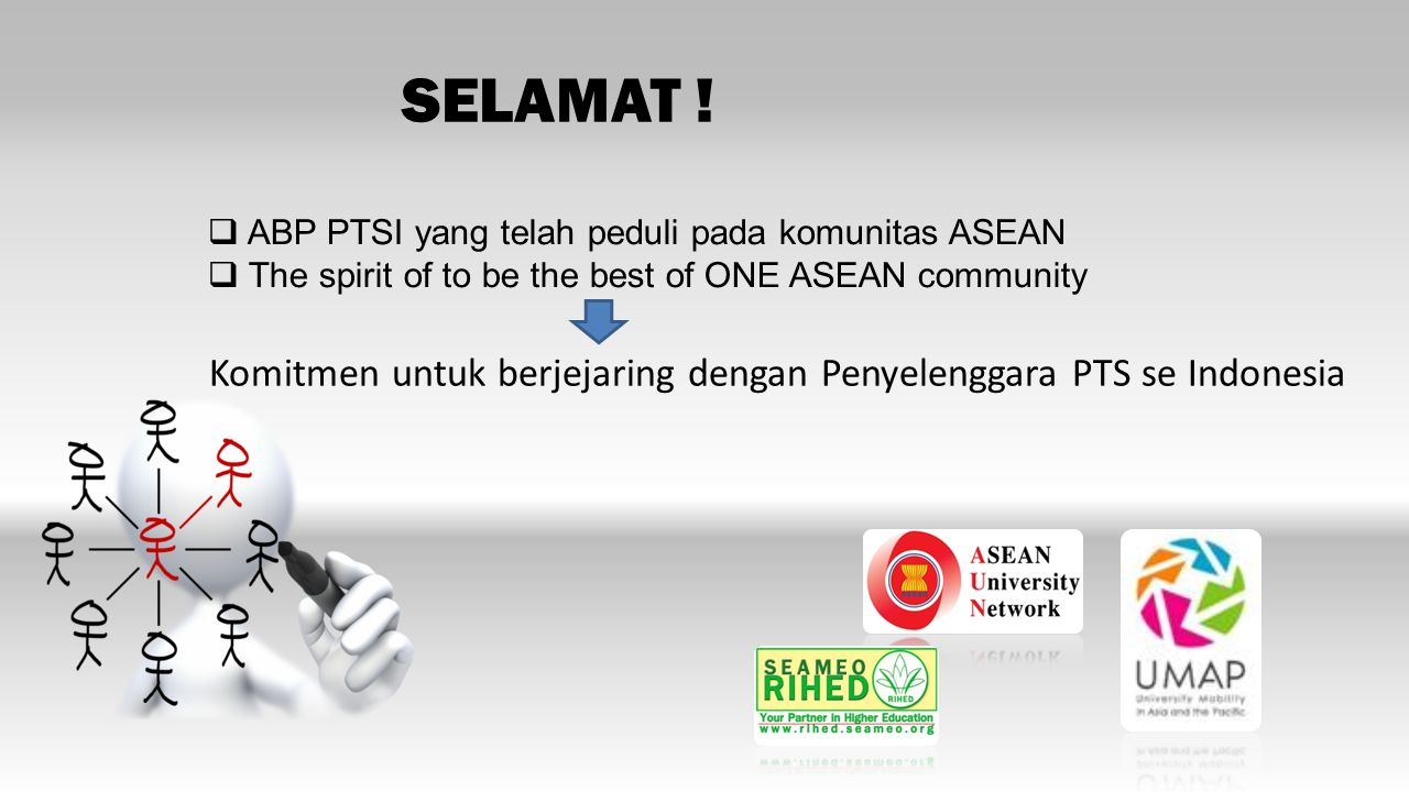 SELAMAT ! ABP PTSI yang telah peduli pada komunitas ASEAN. The spirit of to be the best of ONE ASEAN community.