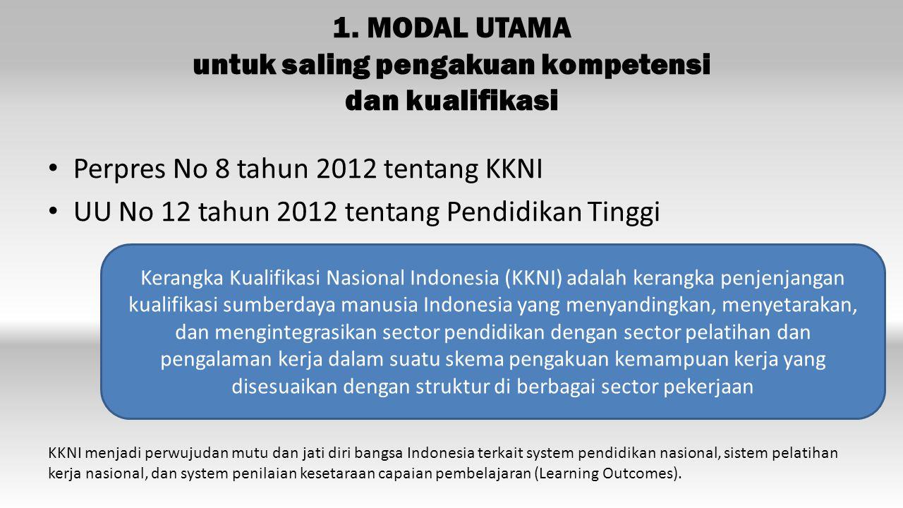 1. MODAL UTAMA untuk saling pengakuan kompetensi dan kualifikasi