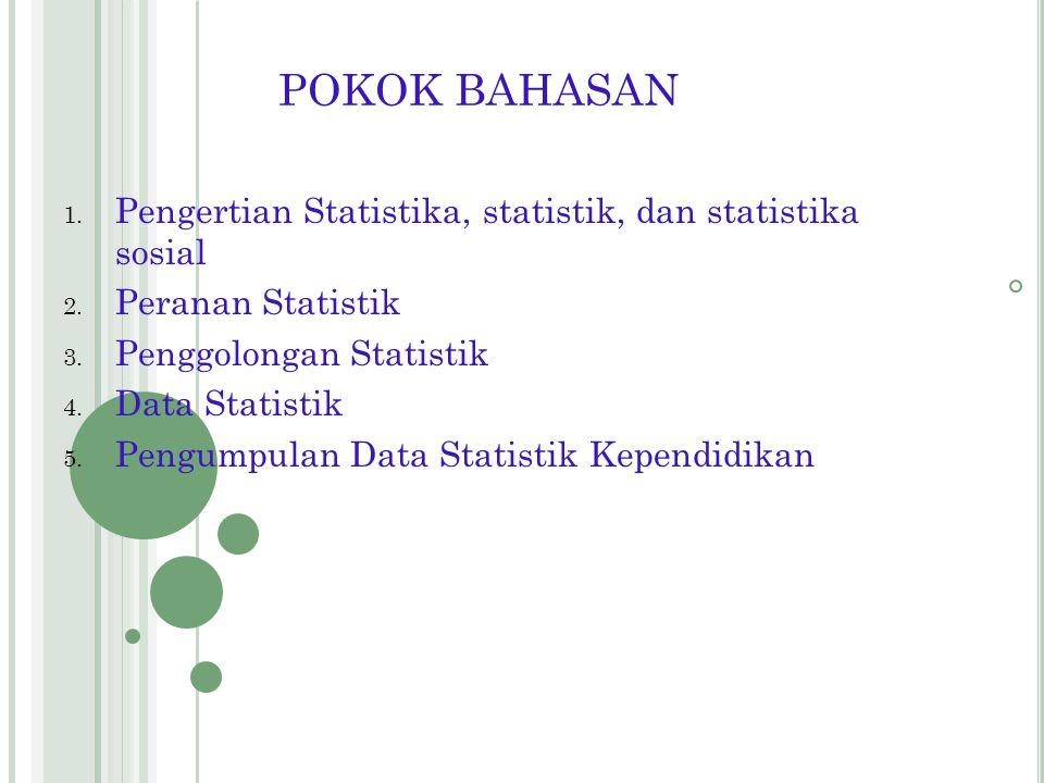 POKOK BAHASAN Pengertian Statistika, statistik, dan statistika sosial