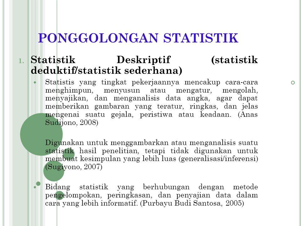 PONGGOLONGAN STATISTIK