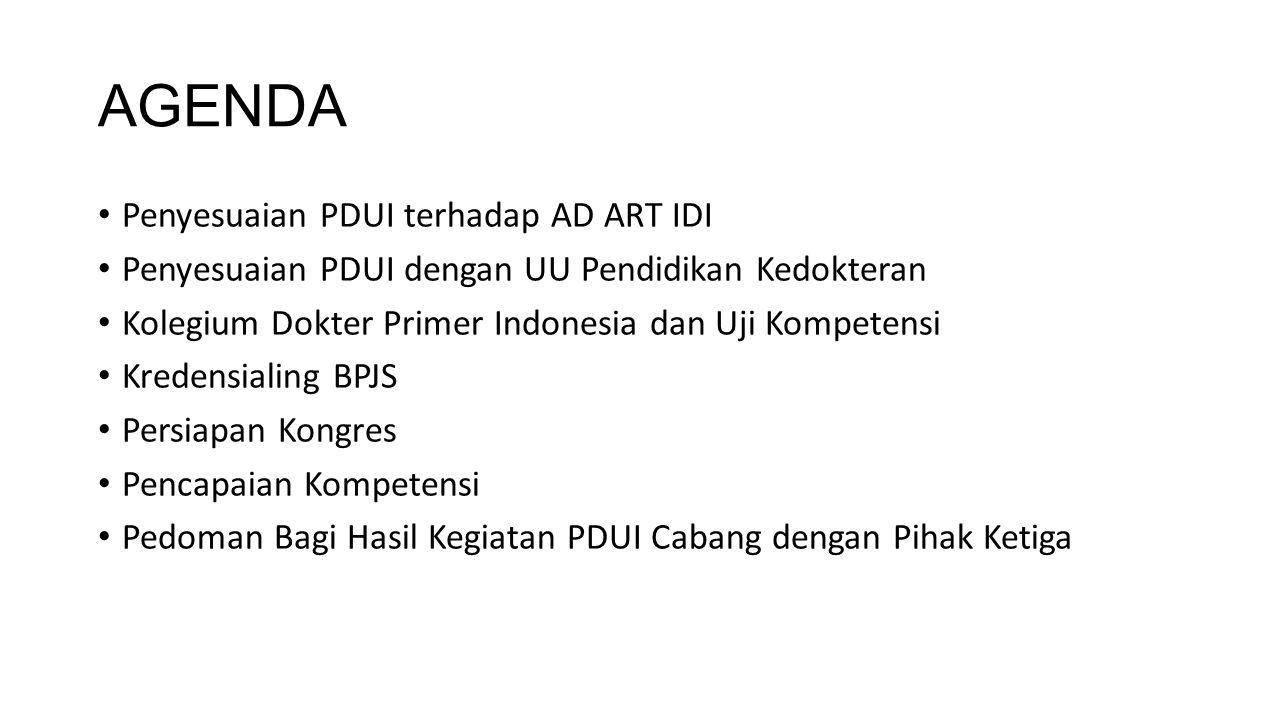 AGENDA Penyesuaian PDUI terhadap AD ART IDI