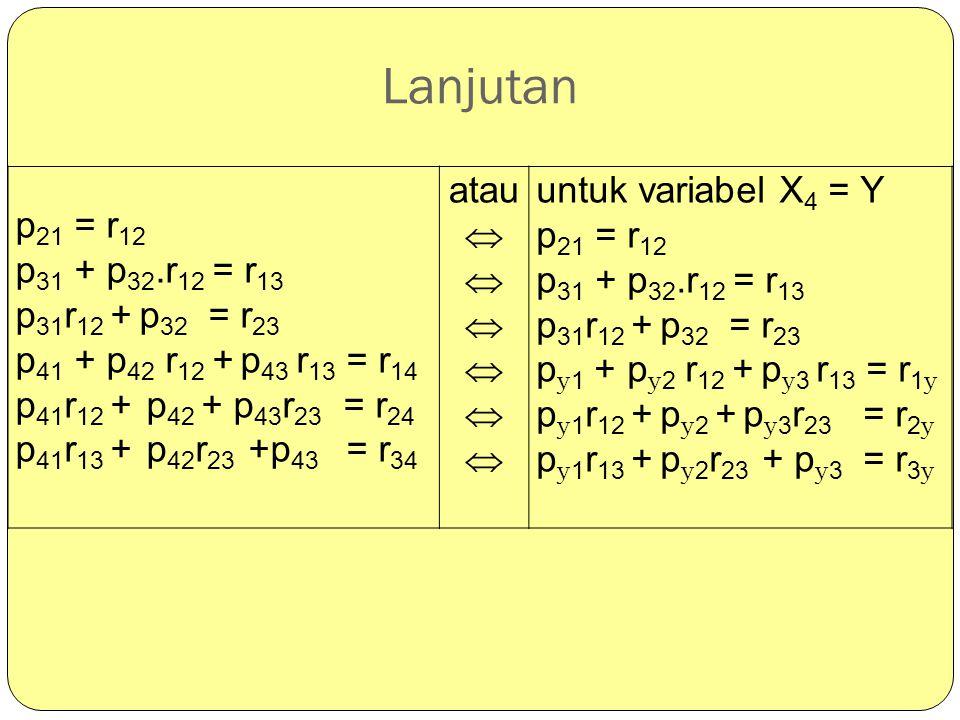 Lanjutan p21 = r12 p31 + p32.r12 = r13 p31r12 + p32 = r23
