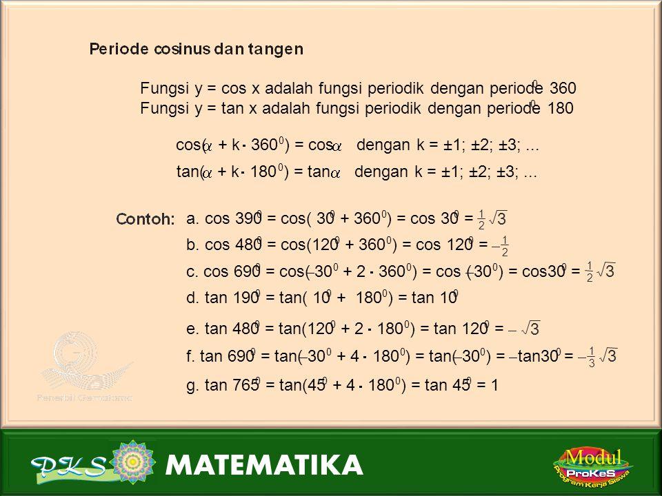 Modul Fungsi y = cos x adalah fungsi periodik dengan periode 360 .