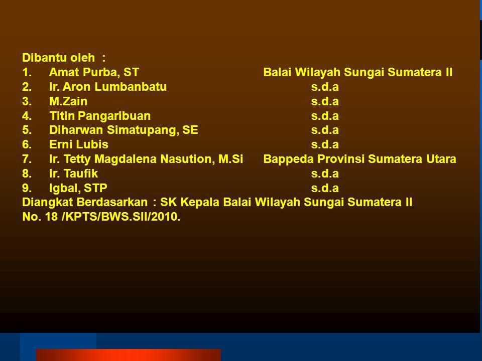 Dibantu oleh : Amat Purba, ST Balai Wilayah Sungai Sumatera II. Ir. Aron Lumbanbatu s.d.a.
