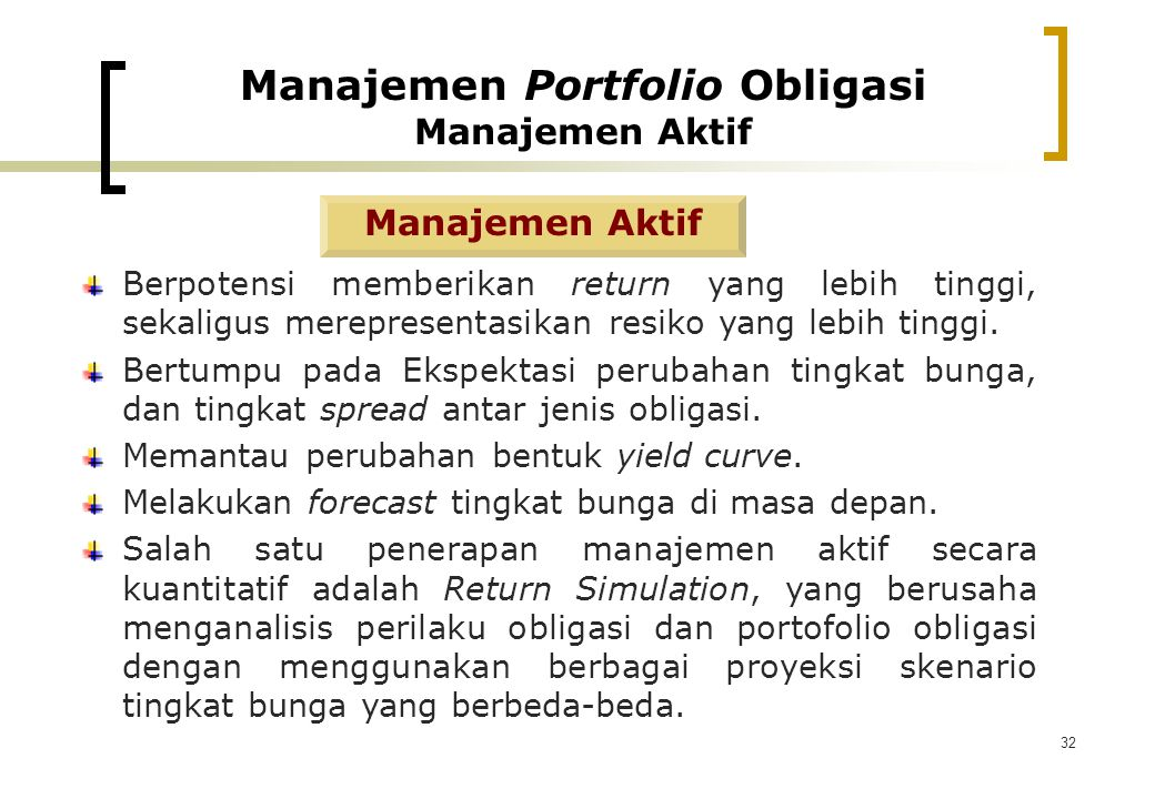 Manajemen Portfolio Obligasi Manajemen Aktif