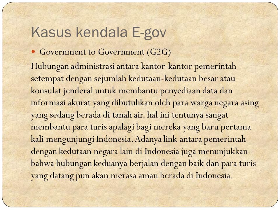 Kasus kendala E-gov Government to Government (G2G)