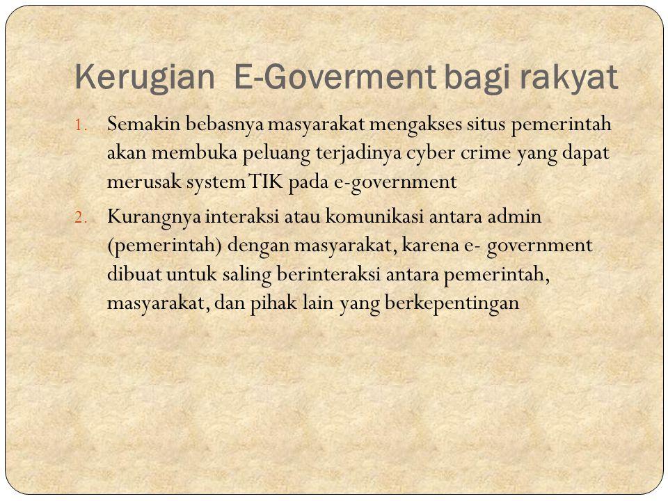 Kerugian E-Goverment bagi rakyat