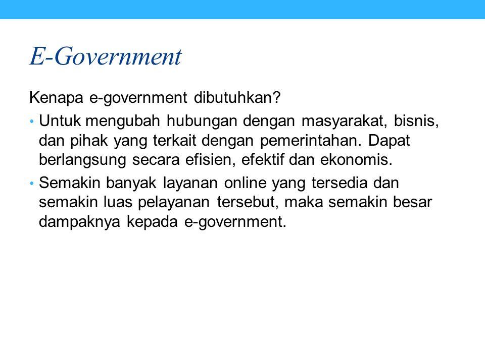 E-Government Kenapa e-government dibutuhkan