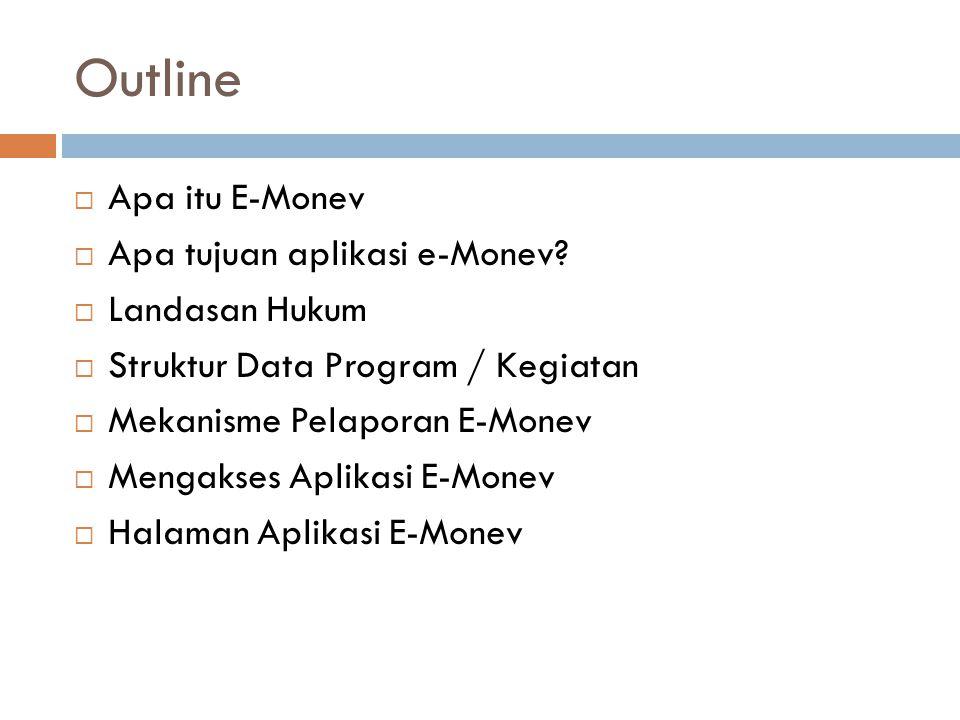 Outline Apa itu E-Monev Apa tujuan aplikasi e-Monev Landasan Hukum