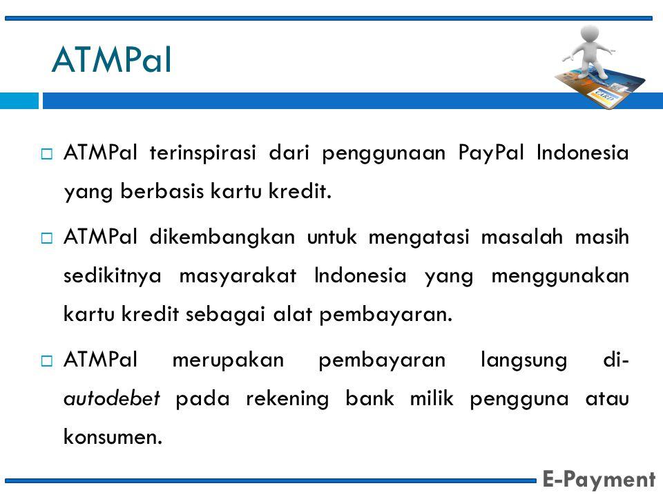 ATMPal ATMPal terinspirasi dari penggunaan PayPal Indonesia yang berbasis kartu kredit.