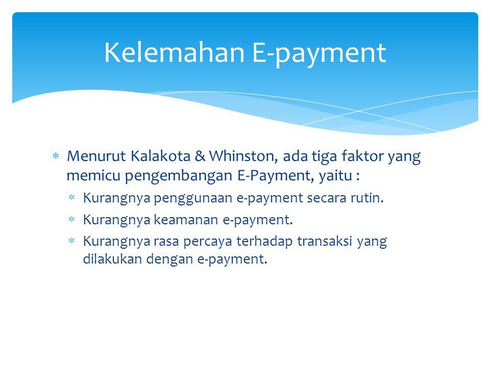 Kelemahan E-payment Menurut Kalakota & Whinston, ada tiga faktor yang memicu pengembangan E-Payment, yaitu :