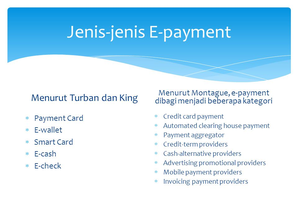 Jenis-jenis E-payment