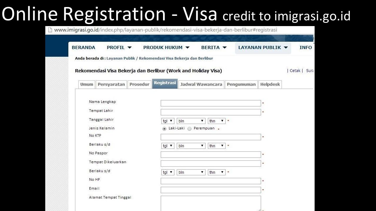 Online Registration - Visa credit to imigrasi.go.id