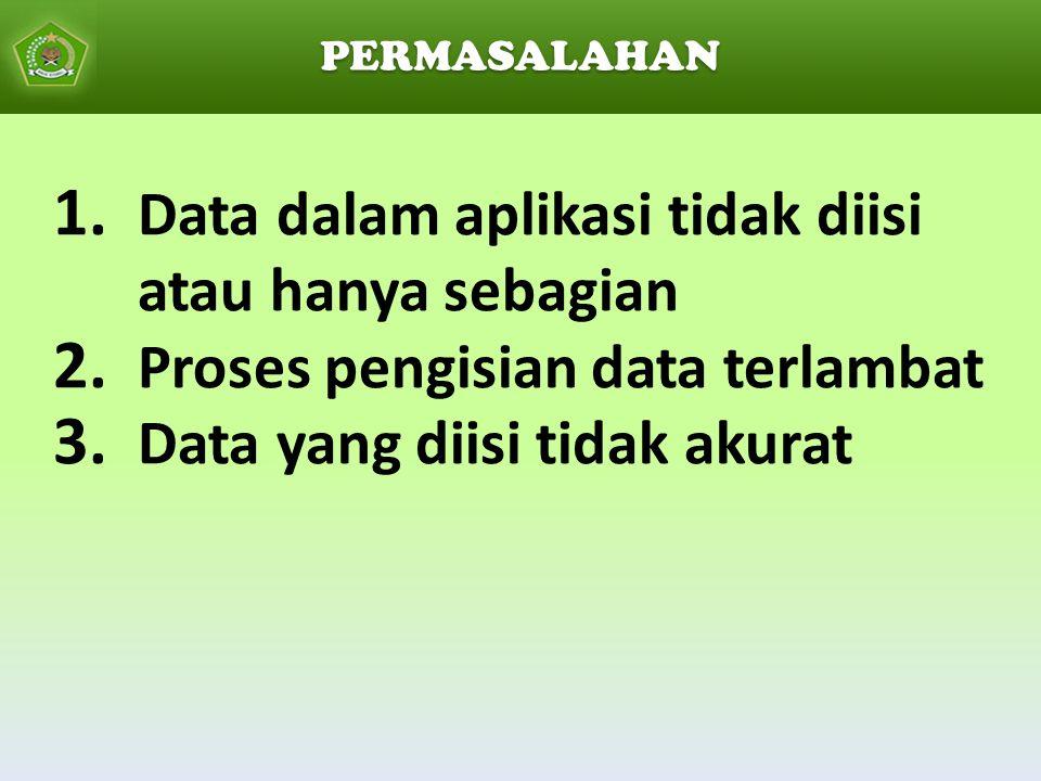 Data dalam aplikasi tidak diisi atau hanya sebagian