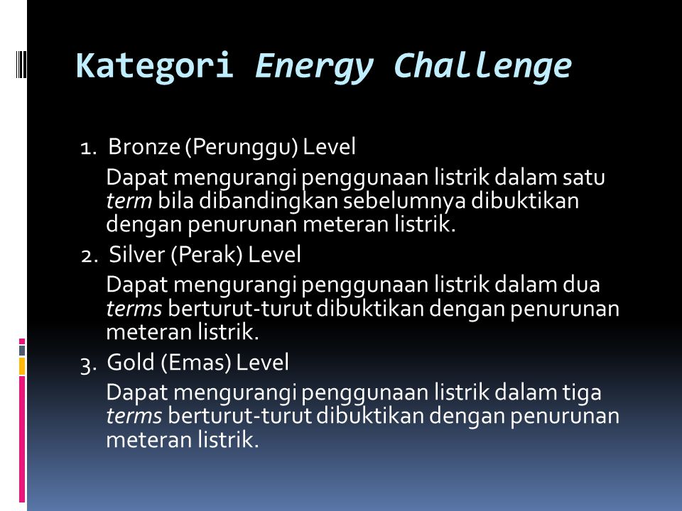 Kategori Energy Challenge