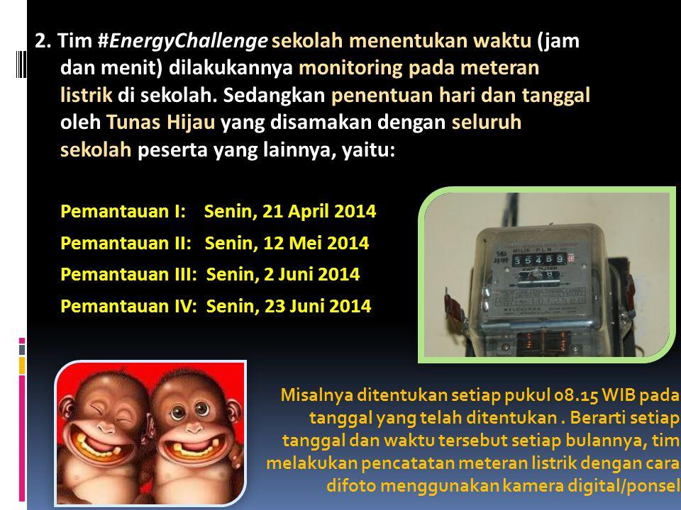 2. Tim #EnergyChallenge sekolah menentukan waktu (jam dan menit) dilakukannya monitoring pada meteran listrik di sekolah. Sedangkan penentuan hari dan tanggal oleh Tunas Hijau yang disamakan dengan seluruh sekolah peserta yang lainnya, yaitu: