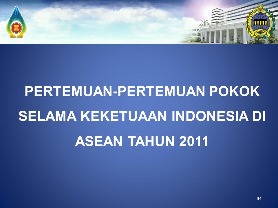 PERTEMUAN-PERTEMUAN POKOK SELAMA KEKETUAAN INDONESIA DI ASEAN TAHUN 2011