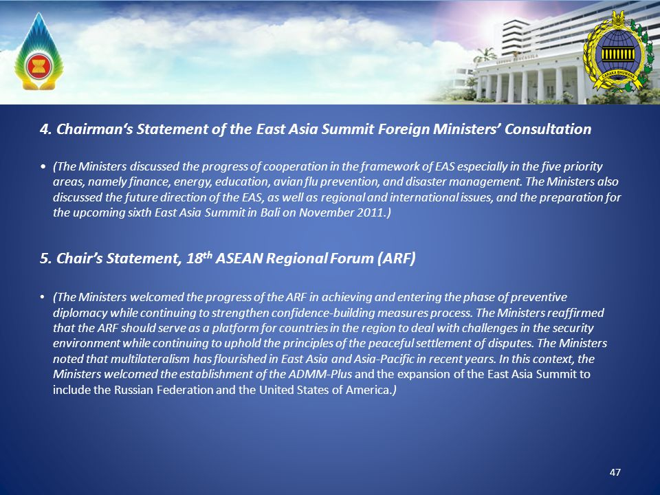 5. Chair's Statement, 18th ASEAN Regional Forum (ARF)
