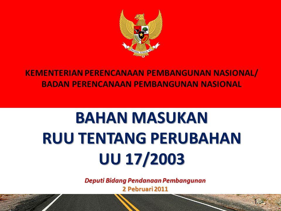 BAHAN MASUKAN RUU TENTANG PERUBAHAN UU 17/2003