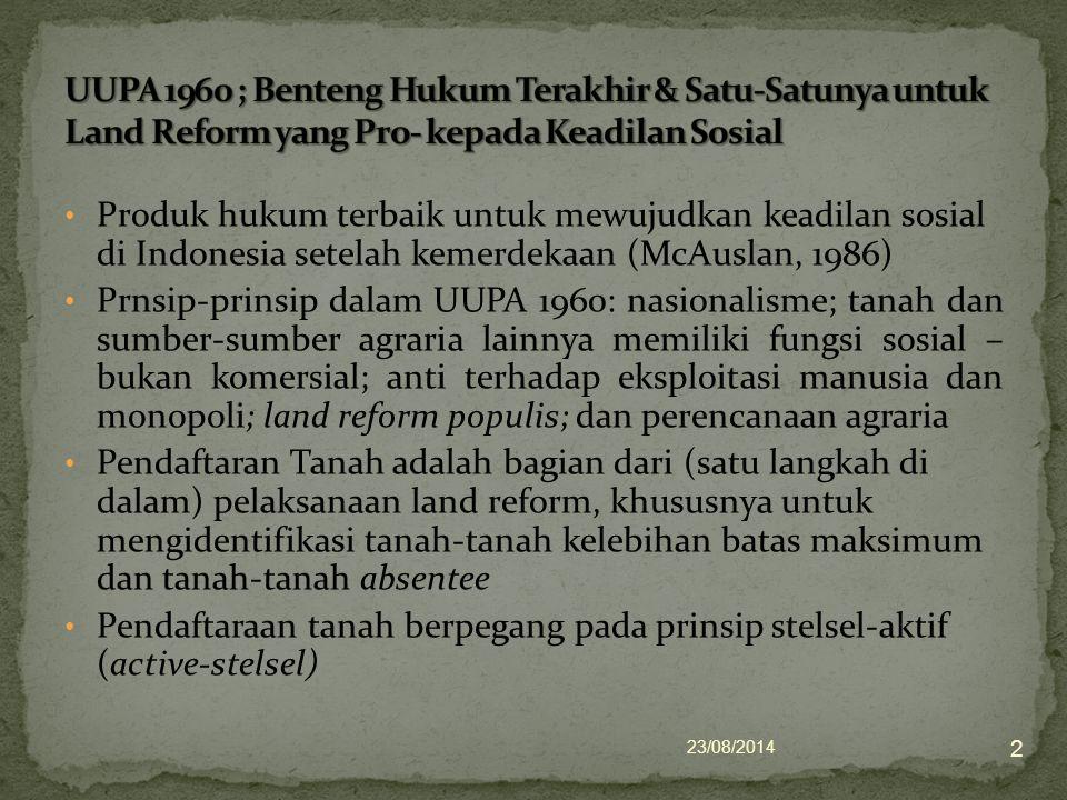 UUPA 1960 ; Benteng Hukum Terakhir & Satu-Satunya untuk Land Reform yang Pro- kepada Keadilan Sosial