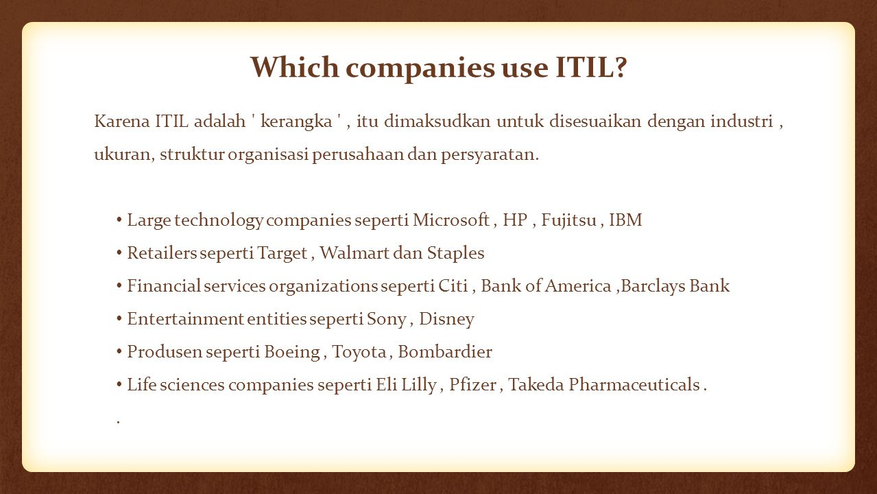Which companies use ITIL