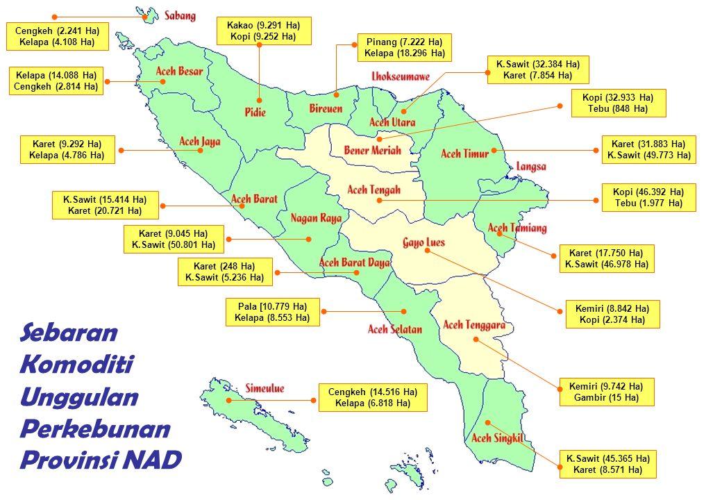 Sebaran Komoditi Unggulan Perkebunan Provinsi NAD